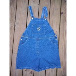 Vintage Denim Bib Shortalls Overalls Embroidered